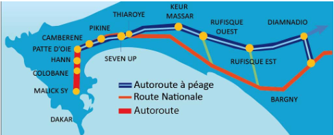 Initiative ppp autoroute p age dakar diamniadio for Plan de dakar